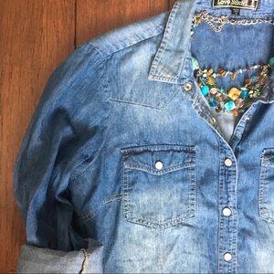 Love Stitch Button Up Chambray Shirt